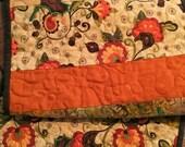 Quilted FALL Table Runner . . . # varietyofFALLfabrics . . . #appliqueleaves . . . #seasonaltabledecor