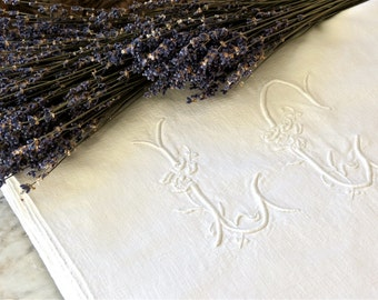 Vintage Beautiful French White Linen Metis Monogrammed Sheet