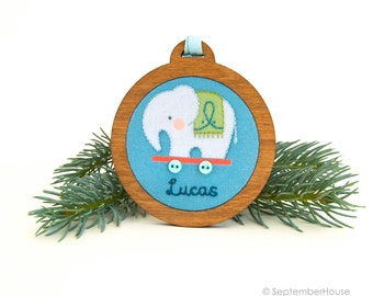 Personalized Holiday Ornament Hand Embroidered Elephant Pull Toy Custom Holiday Keepsake