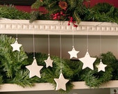Star Christmas Garland Ceramic White Holiday Decor