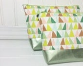 Leather bottomed cosmetic bag - Art Gallery Succulence
