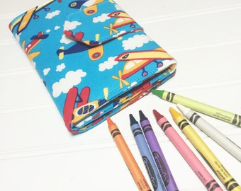 Airplane wallet, Crayon holder, Travel toys, Airplane gift, gift for kids, summer toy, Washable wallet, crayon organizer, boys wallet