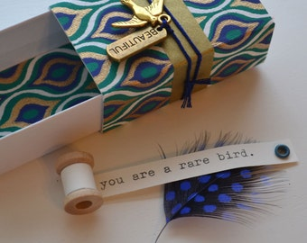 Rare Bird Message Box/Small Gift Box with tiny message spool inside