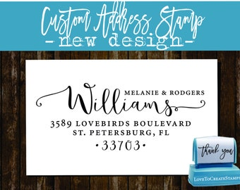 Calligraphy Address Stamp / Family Address Stamp / Modern Address Stamp / Home Address Stamp, Custom Return Address, New Address Stamp 1162K