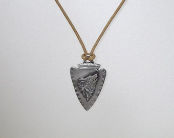 Pewter Howling Wolf Arrowhead Pendant Necklace - UNISEX - 3 color choices - 3 length choices