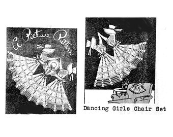 1930s Crochet Pattern Dancing Girls Chair Set Edwardian Ladies Dancing Long Skirts Vintage Retro Decor Chair Backs and Arms Towels Pillows
