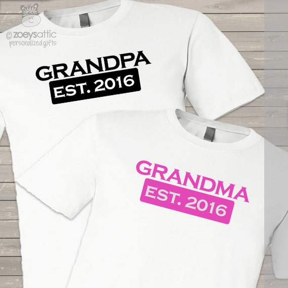 Grandma / grandpa established year matching shirt gift set of 2