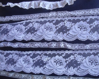 Vintage White Laces florals gathered flat NOS