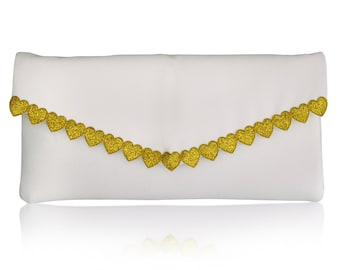Ivory and gold heart wedding bridal clutch purse, bridesmaids gifts ETTA