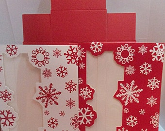 Snowflakes cookie boxes, red,white snowflakes