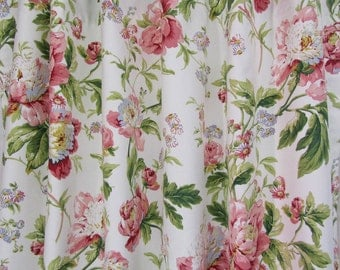 """Cottage Chic Floral Curtains, Shabby Chic Drapery Panels, Pretty Drapes, Soft Pink Blue Floral Curtains, Custom Rod Pocket, One Pair 50""""W"""