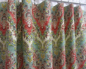 """Chevron Curtains, Boho Curtain Panels, Red Teal Green Window Curtains, Bohemian Drapes, Moroccan Curtains, Rod-Pocket, One Pair 50""""W"""