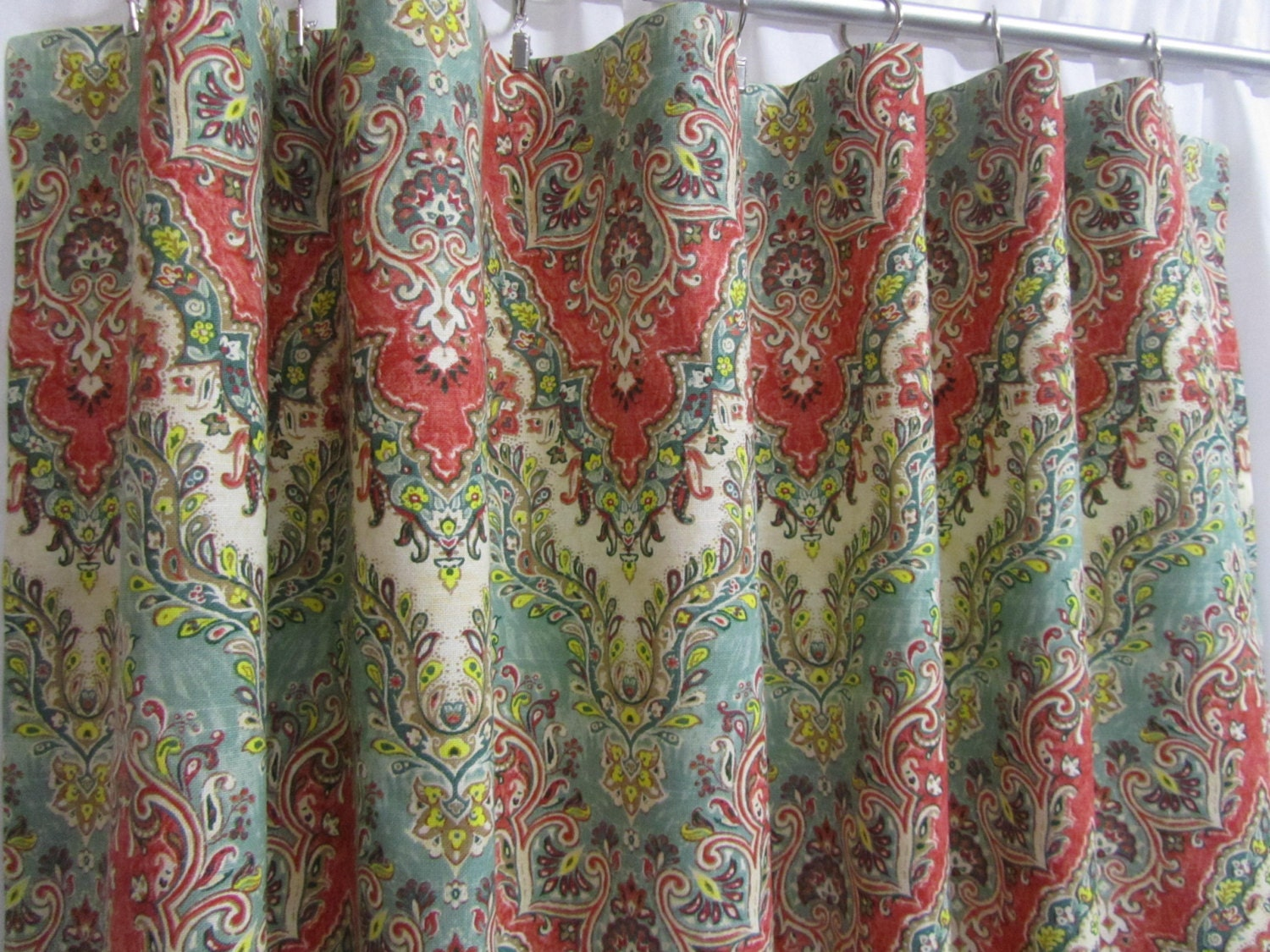 Sheer red window curtains - Chevron Curtains Boho Curtain Panels Red Teal Green Window Curtains Bohemian Drapes