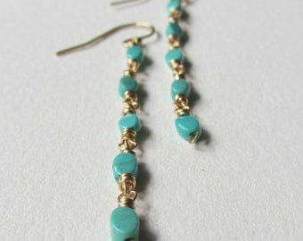 Turquoise Earrings with Gold Fill - Light Blue Natural Stone Jewelry Made in Seattle Long Dangle and Drop Boho Chic Mama December Birthstone