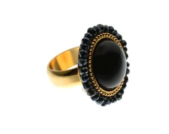 Statement Ring | Gold Ring | Onyx Ring | Evening Ring | Black Ring | Unique Ring | Hand Made Rings | Artisan Rings | Vintage Rings | Gift