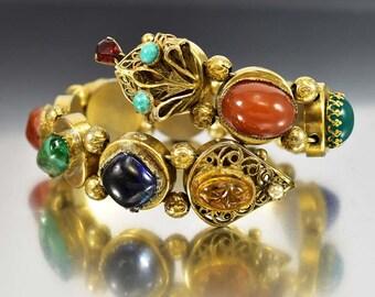 Snake Bracelet, Peking Glass Gold Slide Charm Bracelet, Slide Bracelet, Art Glass Wrap Bracelet, Vintage 1950s Rhinestone Cuff Bracelet