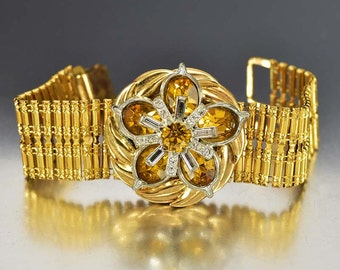 Rhinestone Art Deco Bracelet, Gold Rhinestone Bracelet, Bookchain Wide Bracelet, 1930s Bracelet Art Deco Jewelry, Rhinestone Flower