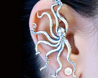 Octopus Ear Wrap Octopus Ear Cuff Ocean Jewelry Octopus Earring Non-pierced Earring Octopus Jewelry Tentacle Earring Tentacle Jewelry Squid