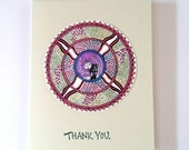 Thank You Cards - WolfOwl - Mandala - Handmade Stamped Card
