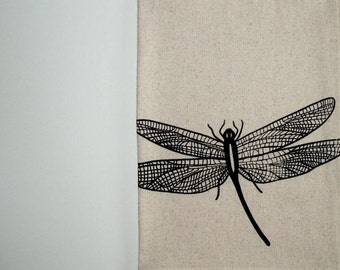 Cotton Kitchen Towel - Dragonfly - Choose your ink color