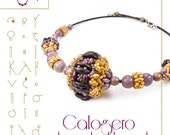 Beading tutorial / pattern Calogero beaded bead with crescent beads. Beading instruction in PDF – for personal use only