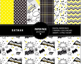 Digital Paper Pack and Clip BATMAN. 12x12 sheets 300 dpi scrapbooking + 3 PNG CLIPART