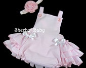 Handmade Baby Girl Knot Halter or Button Ruffled Sunsuit in Pink Seersucker or Your Color Choice Fully Lined Girl Baby Toddler