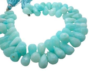 Peruvian Blue Opal Beads, Faceted Teardrops, Peruvian Opal Briolettes, Blue Opal Teardrop Briolette, Peruvian Opal Drops, SKU 4964