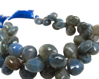Blue Chalcedony Briolette Beads, Cobalt Blue Chalcedony, 10-11mm, Heart Briolettes, SKU 3023