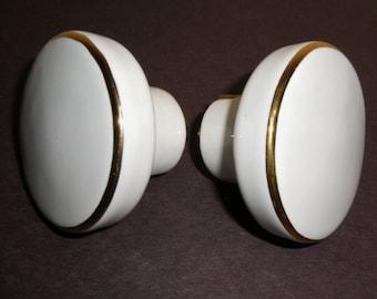 Door Knobs White Porcelain Gold Trim round flat doorknobs set pair vintage hardware