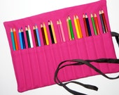 READY TO SHIP Canvas 12-24 Artist's Pencil Cozy Case Roll in Fuchsia Hot Pink