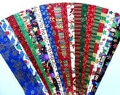 Christmas Xmas Metallic Jelly Roll Quilt Strip Pack Cotton Quilting Holiday Seasonal Fabric Die Cut No Duplicates (SKU JR120-XMMEgd)