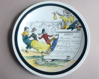 Vintage FAUST Sujets Musicaux, France Terre de Fer, French Opera Collector's Plate, Charles Gounod Opera Plate, French Porcelain