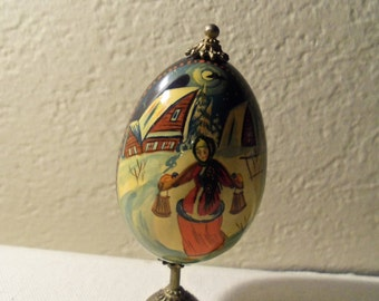 Signed Russian Lacquer Soviet USSR Hand Painted Egg On Brass Stand