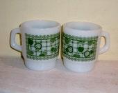 Fire King Coffee Cup Mug Green Apple Anchor Hocking Milk Glass