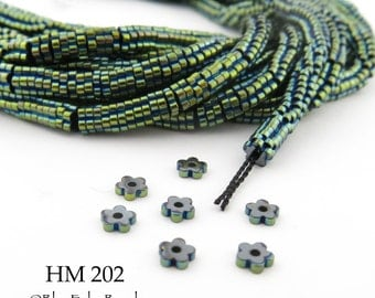 3mm Tiny Shiny Green Hematite Flower Heishi Beads Small 3mm x 1mm Full Strand (HM 202) BlueEchoBeads
