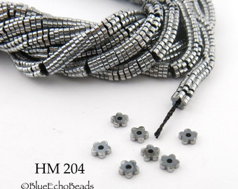 3mm Tiny Shiny Silver Grey Hematite Flower Heishi Beads Small 3mm x 1mm Full Strand (HM 204) BlueEchoBeads
