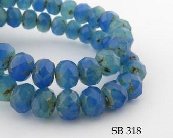 9mm Czech Glass Beads Faceted Rondelle, 9x6mm Summer Dream (SB 618)  12 pcs BlueEchoBead