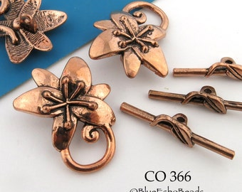 29mm Shiny Copper Flower Toggle Flower Clasp (CO 366) 3 sets BlueEchoBeads