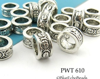 Large Hole Beads Pewter Ring with Circles Antique Silver 8mm (PWT 610) 15 pcs BlueEchoBeads