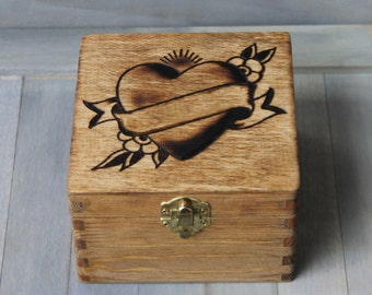 Personalized custom wood jewelry box, keepsake box, memory box, trinket box, photo box, heart tattoo box! Perfect Valentine's Day gift!