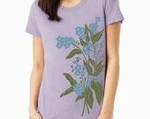 SALE Forget Me Nots Floral print, Forget-Me-Nots Women's t-shirt, Lavender t-shirt, Art T-shirt
