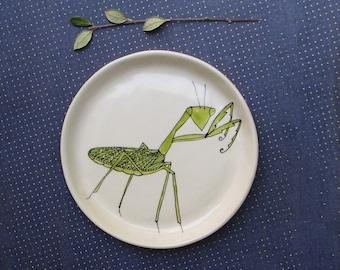 Green praying mantis dish, ceramic plate, insect dish, hand drawn.