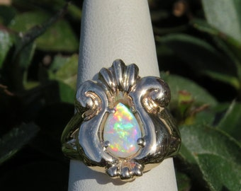 14k Yellow Gold Ring Pear Shape Opal Cabochon OOAK