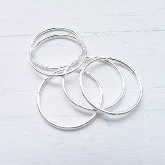 wire rings sterling silver size 6 stacking texturing