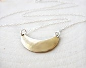 Moon Necklace, Crescent Necklace, Sterling Silver, Brass Pendant, Gold Moon Necklace, Minimal Jewelry, Minimalist, Layering Necklace, Simple