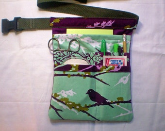 Dewberry Aviary Fabric in Stock Hip Bag, Utility Belt, Hipster, Tool Belt  With Pockets and Slide Clip Buckle in Dewberry Fabric
