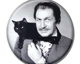 Vincent Price holding a cat 1.75 inch pinback button
