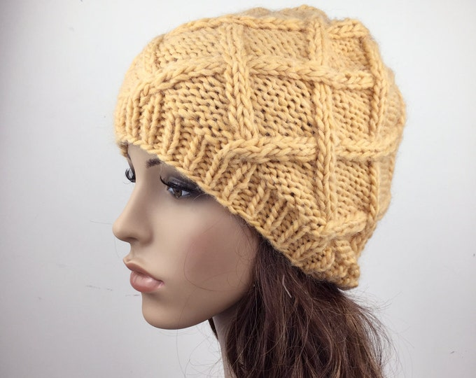 Hand Knit Hat woman hat winter hat wool Beret Hat yellow Beanie hat