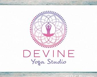 Yoga Logo, Mandala Logo Design, Custom Logo, Business Logo, Bohemian Logo, Watermark, Premade Logo, Lotus Logo, Boho Logo